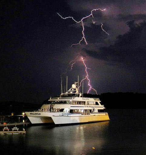 Boat struck by lightening
